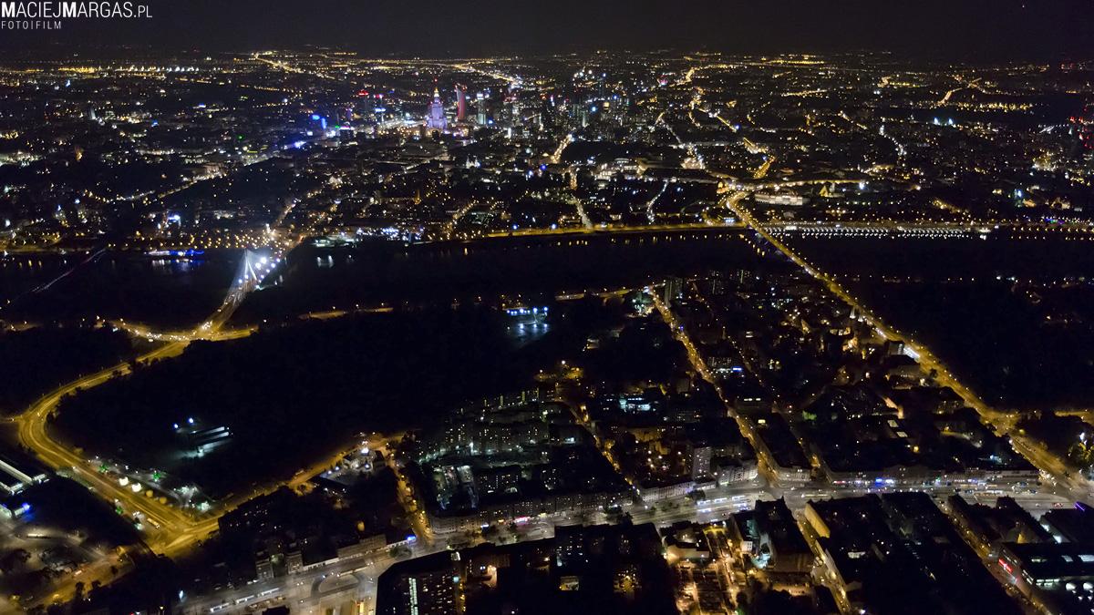 helikmargas-13 Ponad Miastem - nocna Warszawa z lotu ptaka